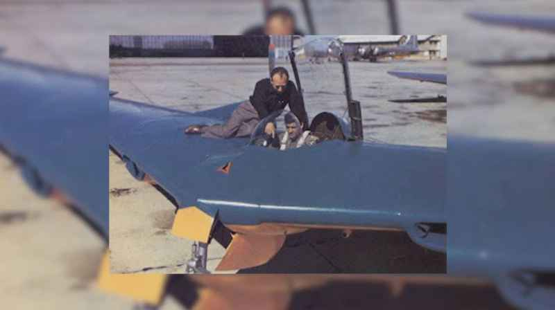 11 Test Pilot In Blue Flying Wing